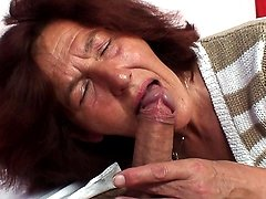 Granny rides him and loves his cock
