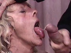 Aged mature gets facial after fuck in swinger orgy