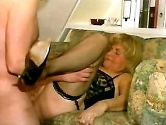 Lusty granny in stockings