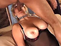 Blonde busty mature sucking cock with big pleasure