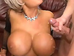 Man jizzing on big tits of milf ater hot drlilling