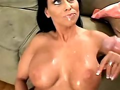 Guy fucks hot sexy milf and her big tits on sofa