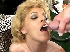 Lustful mature gets cum in mouth
