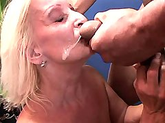Granny gets facial after fuck in diff positions