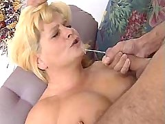 Guy fucks blond chubby granny n jizzes on her face